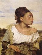 Eugene Delacroix Foraldralos girl pa kyrkogarden oil painting reproduction