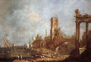 Francesco Guardi Hamnstad with classical ruins Italy painting