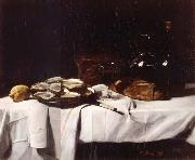 Francois Bonvin Still life with Lemon and Oysters oil on canvas