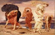 Frederick Leighton Greek Girls Picking up Pebbles by the Sea oil
