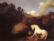 George Stubbs Hasta who become skramd of a lion painting