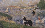 Georges Seurat Horses in the Seine painting