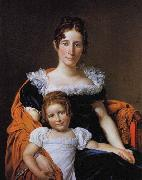 Jacques-Louis  David Portrait of the Comtesse Vilain XIIII and her Daughter oil on canvas
