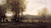 Jean Baptiste Camille  Corot Three Cows at the Pond oil painting reproduction