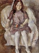 Jules Pascin The Girl holding flower oil painting reproduction