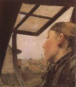 Laurits Andersen Ring Girl looking out of a Skylight oil