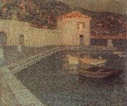 Le Sidaner Henri House by the sea at Dusk painting