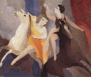 Marie Laurencin trick rider and his assistant oil on canvas