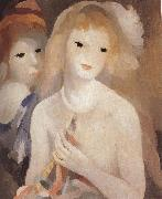 Marie Laurencin Two girl holding the bugle oil on canvas