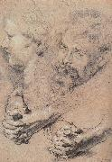 Peter Paul Rubens Head and hand-s pencil sketch painting