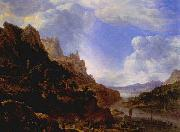 SAFTLEVEN, Cornelis Rhineland Fantasy View oil on canvas