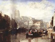 Sir Augustus Wall Callcott View of the Grote Kerk,Rotterdam,with Figures and Boats in the Foreground china oil painting artist
