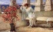 Sir Lawrence Alma-Tadema,OM.RA,RWS Her Eyes are with Her Thoughts and They are Far away painting