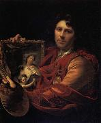 Adriaen van der werff Self-Portrait with a Portrait of his Wife,Margaretha van Rees,and their Daughter,Maria painting