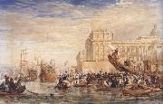 David Cox Embarkation of His Majesty George IV from Greenwich (mk47) oil on canvas