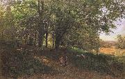 Edmund George Warren,RI Rest in the cool and shady Wood (mk46) oil