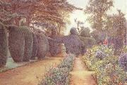 Ernest Arthur Rowe The Gardens at Campsea Ashe.Watercolur (mk46) oil