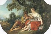 Francois Boucher Shepherd Piping to a Shepherdess oil painting reproduction