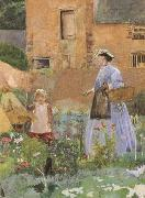 George John Pinwell,RWS In a Garden at Cookham (mk46) oil