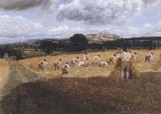 George Robert Lewis Dynedor Hill,Herefordshire,Harvest field with reapers (mk47) oil