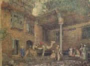 John Frederichk Lewis RA Courtyard of the Painter's House (mk46) oil