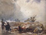 John sell cotman Lee Shore,with the Wreck of the Houghton Pictures (mk47) oil on canvas