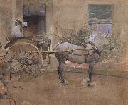 Joseph Crawhall The Governess Cart (mk46) oil on canvas