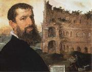 Maerten van heemskerck Self-Portrait of the Painter with the Colosseum in the Background oil on canvas