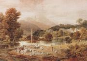 Ramsay Richard Reinagle A Slate Wharf,with the Village of Clappersgate and Coniston Fells,near the Head of Windermere-Forenoon (mk47) oil