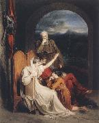 Richard Westall Queen Judith reciting to Alfred the Great (mk47) oil