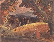 Samuel Palmer Harvesters by Firelight painting