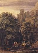 William Turner of Oxford A Scene in the vicinity of a Baronial Residence in the reign of Stephen (mk47) oil on canvas