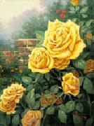 unknow artist Yellow Roses in Garden oil on canvas