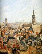 Camille Pissarro Old under the sun roof painting