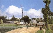 Camille Pissarro Riparian scenery on oil painting reproduction