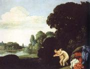Carlo Saraceni landscape with salmacis and hermaphroditus oil on canvas