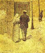 Charles Angrand Man and Woman on the Street oil on canvas