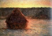 Claude Monet hay stack at sunset,frosty weather painting