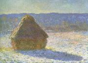 Claude Monet haystack in the morning,snow effect painting