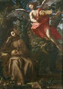 Francesco Cozza Saint Francis consoled by an Angel oil on canvas