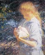 Frank Weston Benson Eleanor Holding a Shell oil painting