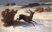 Gustave Courbet The deer running in the snow china oil painting reproduction