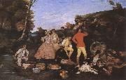 Gustave Courbet Hunter-s picnic painting