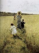 Ilia Efimovich Repin In the field of small road oil painting reproduction