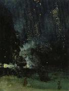 James Abbott Mcneill Whistler nocturne i svart och guld den fallande raketen oil on canvas
