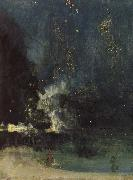 James Abbott Mcneill Whistler Nocturne in Black and Gold oil on canvas