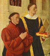 Jean Fouquet left wing of Melun diptych depicts Etienne Chevalier with his patron saint St. Stephen china oil painting reproduction