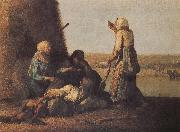 Jean Francois Millet Haymow painting