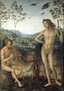 Pietro vannucci called IL perugino Apollo and Marilyn income Ah oil on canvas