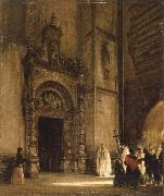 rudolph von alt side portal of como cathedral oil